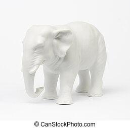 Elephant - White elephant figure over white background