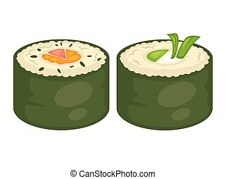 Sushi rolls vector flat icons for Japanese cuisine...