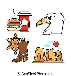 USA America tourism travel and American culture vector...