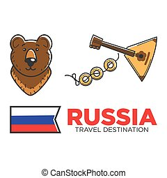Russia travel symbols for Russian tourist and culure...