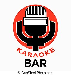 Karaoke bar promotional emblem with retro microphone illustration