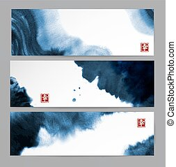 Banners with abstract blue ink wash painting in East Asian style. Traditional Japanese ink painting sumi-e. Contains hieroglyph - happiness.