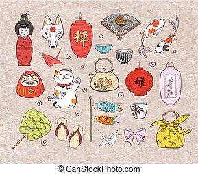 Japan colored doodle sketch elements on vintage rice paper...