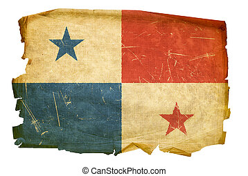 Panamá, bandera, viejo, aislado, blanco, Plano de...