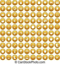 100 gardening icons set gold - 100 gardening icons set in...