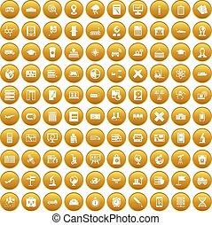 100 globe icons set gold