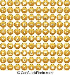 100 gambling icons set gold - 100 gambling icons set in gold...