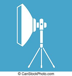 Studio lighting equipment icon white isolated on blue...