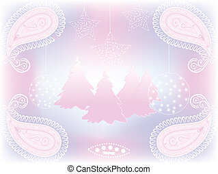vector christmas background with fir trees, balls, and...