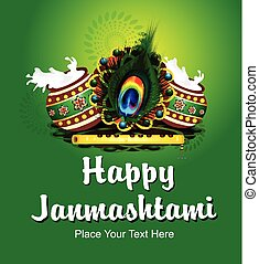 Happy Janmashtami Backround with Flute vector illustration