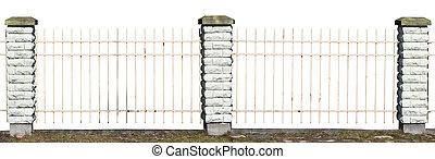 Fragment of a vintage village fence