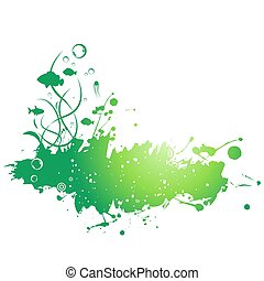 Abstract painted grunge stains background. Vector illustration.
