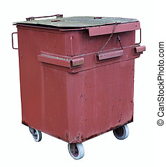 Vintage red container for food waste manually welded from...