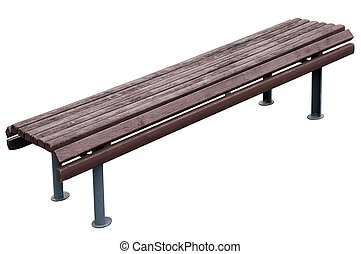 Old aged vintage park bench with wooden seat and metal gray...