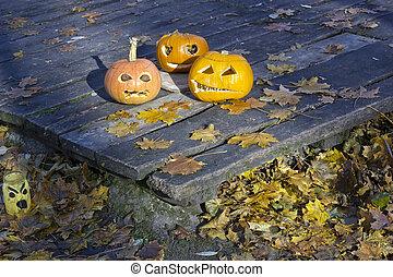 Three terrible ugly pumpkins