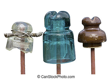 Old glass and ceramic insulators of electric current for...