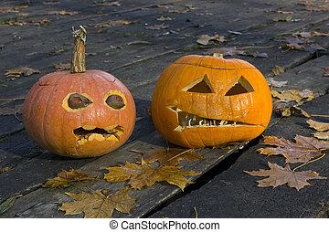 Two terrible ugly pumpkins