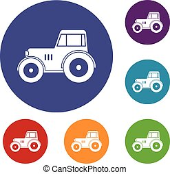 Tractor icons set in flat circle red, blue and green color...