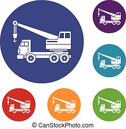 Truck crane icons set in flat circle red, blue and green...