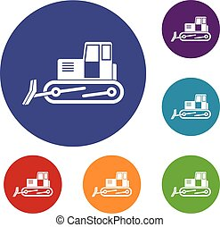 Bulldozer icons set in flat circle red, blue and green color...