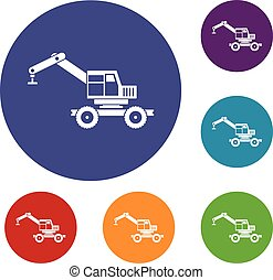 Crane truck icons set in flat circle red, blue and green...