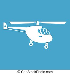 Helicopter icon white isolated on blue background vector...