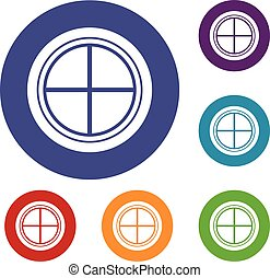 White round window icons set in flat circle red, blue and...
