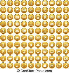 100 IT business icons set gold - 100 IT business icons set...