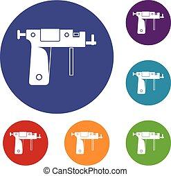 Piercing gun icons set