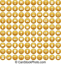 100 interior icons set gold