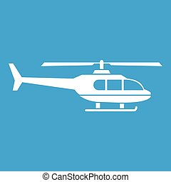 Military helicopter icon white isolated on blue background...