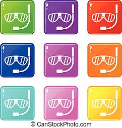 Swimming mask set 9 - Swimming mask icons of 9 color set...