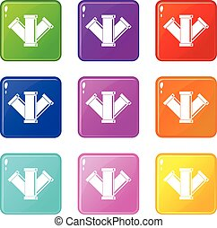 Sewerage set 9 - Sewerage icons of 9 color set isolated...