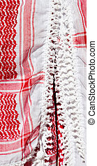 the texture of cotton traditional symbolic arabian scarf -...