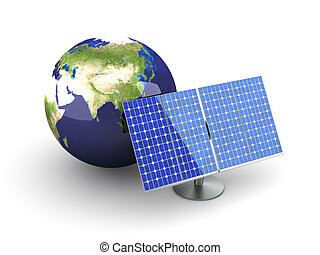 Alternative Energy - Asia - 3D rendered Illustration....