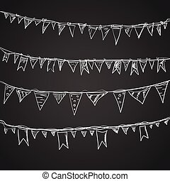 Hand drawn doodle bunting flags set. Doodle birthday barty...