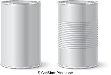 Metallic tin can. Vector illustration - Metallic blank tin...