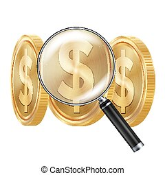 Dollar And Magnifying Glass Vector. Business Concept. Financial Concept. Isolated Illustration