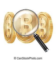 Bitcoin And Magnifying Glass Vector. Cryptocurrency Business Concept. Cryptography, Financial Technology Isolated Illustration
