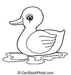 cartoon cute duck coloring page vector illustration