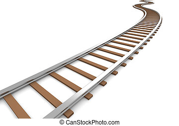 Railroad - 3D rendered Illustration. Isolated on white.