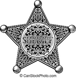 Sheriff Star Badge Engraved Style - Sheriff star badge in a...