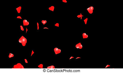 Valentines Hearts Falling Loop Background with Alpha Channel