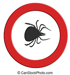 Tick warning red warning sign with tick symbol. - Borreliose...