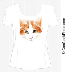 t-shirt design  with face of ginger cute cat. Design for women's t-shirt