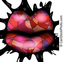 abstract colored lips - white background, black large blob...