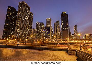 Panorama of Chicago and frozen Lake Michigan
