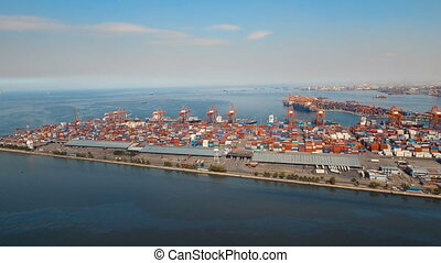 Cargo industrial port aerial view. Manila, Philippines. -...