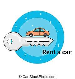 rent a car concept - Rent a car, flat design thin line...