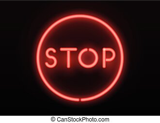 Neon stop sign. Vector realistic neon letters